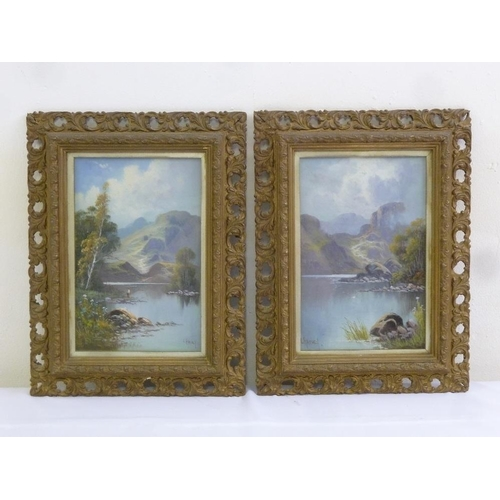 86 - C. Harvey a pair of framed oils on canvas scenes of lake and mountain, 25.5 x 16cm...