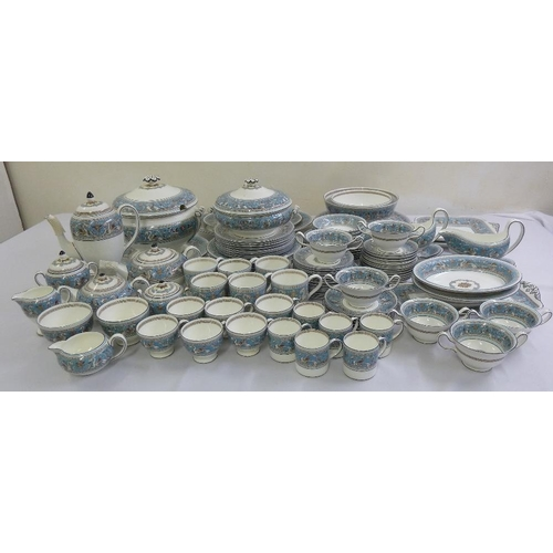 88 - Wedgwood Turquoise Florentine part dinner service to include plates, bowls, serving dishes, soup tur...