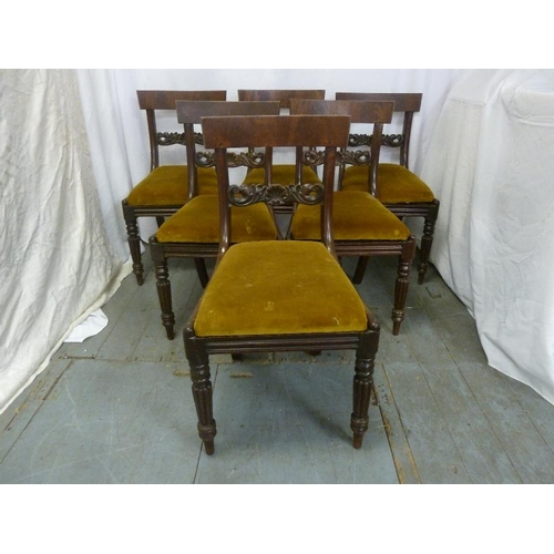 12 - A set of six William IV mahogany scroll back upholstered dining chairs...