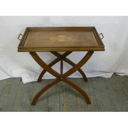 21 - An Edwardian rectangular inlaid tea tray on X frame stand...