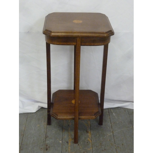 22 - An Edwardian rectangular two-tiered mahogany side table...
