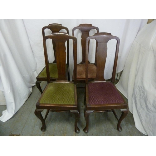 2 - A Victorian mahogany drop flap table on four pad feet and four matching dining chairs with upholster...