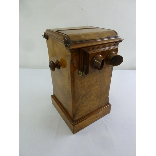 277 - A Victorian rectangular burr walnut stereoscope on square moulded base with turned circular side han...