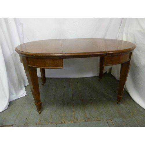 3 - Victorian mahogany oval dining table on four tapering rectangular legs with one drop in leaf and Jos...