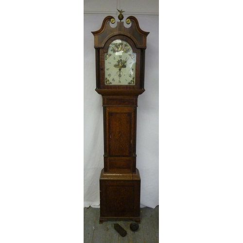 318 - A 19th century oak cased long case clock with painted enamel dial, swan neck pediment to include wei...