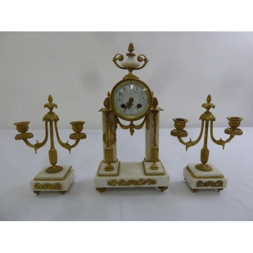 320 - French white marble and gilded metal neo classical clock set, A/F...