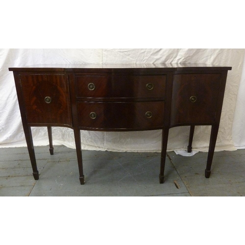 2 - A Regency style mahogany sideboard with two drawers flanked on either side by two cupboards on taper...