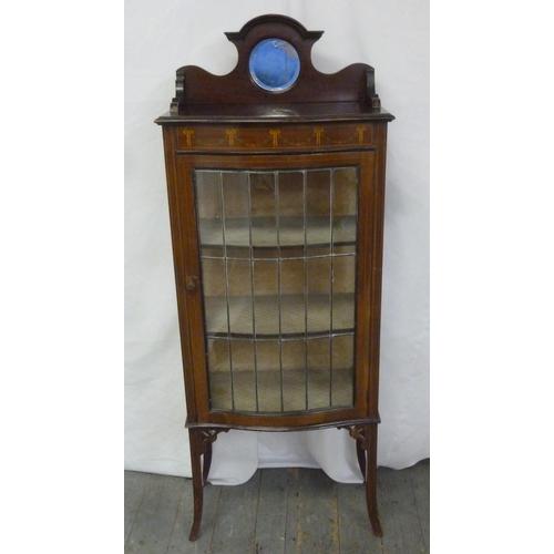 4 - An Edwardian mahogany rectangular glazed display case on four tapering rectangular legs with circula...