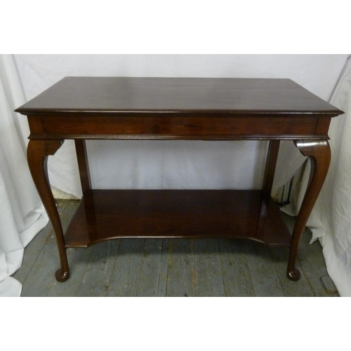 6 - Mahogany rectangular hall table with cabriole legs...