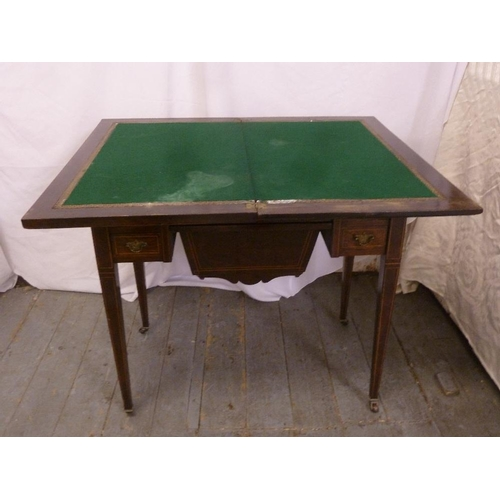 7 - An Edwardian mahogany rectangular inlaid desk in the form of games and work table with five drawers ...