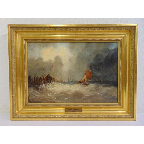 127 - James Edwards 1820-1888 framed oil on canvas of ships in rough waters by a harbour, signed bottom ri...