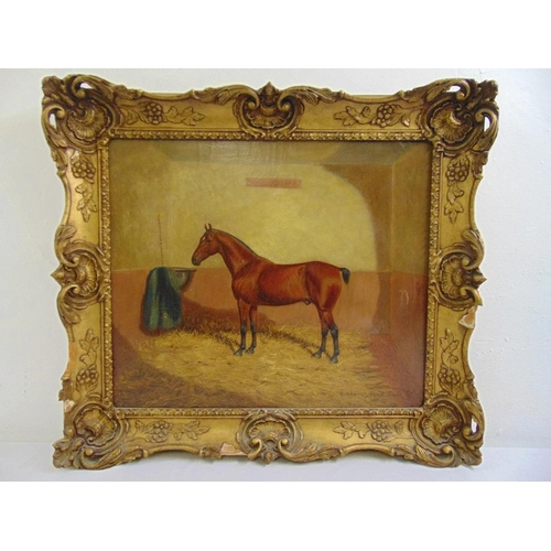 128 - Frederick Albert Clark a framed oil on canvas equine painting of Little Tobe in his stable, signed a...
