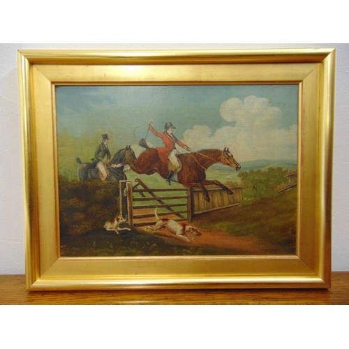 129 - A framed 19th century oil on board of a huntsman jumping a fence, 23 x 32cm...