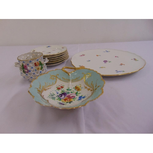 147 - A quantity of continental porcelain to include a Meissen fruit set, a Dresden latticework dressing t...