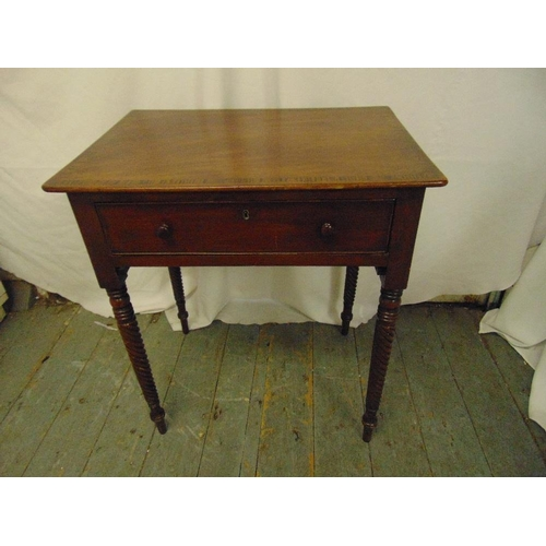 32 - A rectangular mahogany side table, cross banded, single drawer, barley twist carved legs...