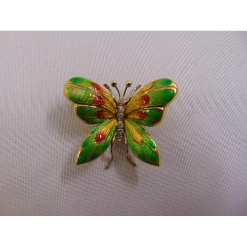 333 - 18ct yellow gold diamond and enamel butterfly brooch, approx total weight 12.7g...