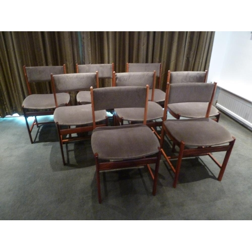 35 - A set of eight rosewood upholstered dining chairs, CITES certificate included...