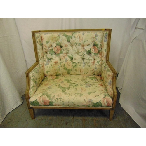 37 - A 19th century rectangular stained wooden upholstered two seater settle...