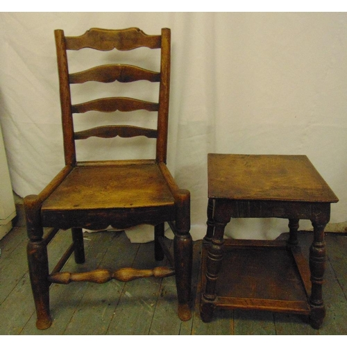 43 - An early 18th century fruitwood and elm ladder-back chair with solid seat and a oak rectangular side...