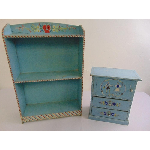 50 - A rectangular painted bookcase and miniature painted bedside cabinet...