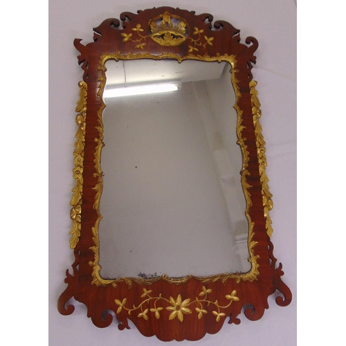 53 - A Regency style rectangular mahogany and gilt carved fretwork wall mirror, 120 x 69cm...