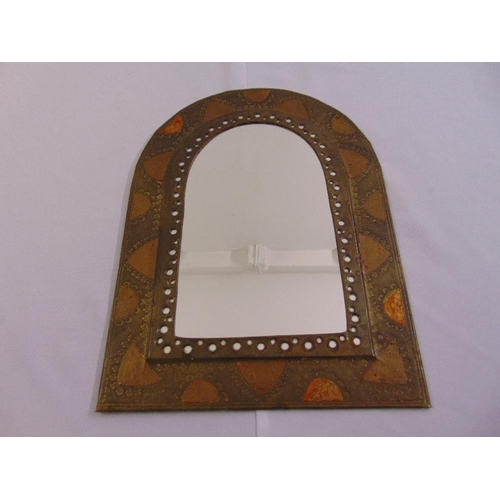 57 - A brass and copper arched rectangular wall mirror...
