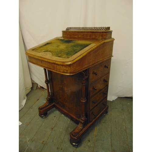 6 - A Victorian walnut Davenport, rectangular inlaid with pierced brass gallery, four drawers to one sid...