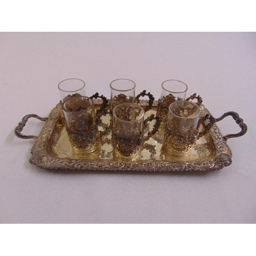 437 - Scottish silver miniature tray and six glass and silver mounted shot glasses, Glasgow 1915...