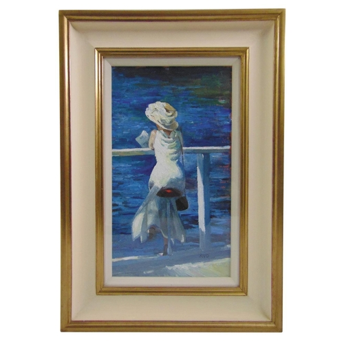 72 - Sherree Valentine-Daines framed and glazed acrylic on panel titled Girl at Henley, monogrammed botto...