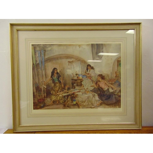 34 - William Russell Flint framed and glazed signed limited polychromatic lithograph titled A Question of...