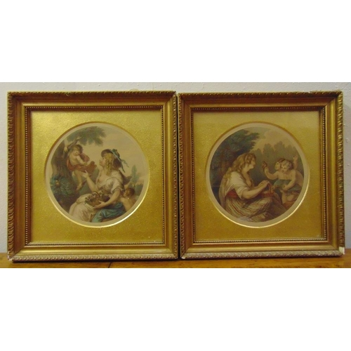 41 - F Bartolozzi a pair of framed and glazed polychromatic etchings of classical figures 17.5cm diameter...