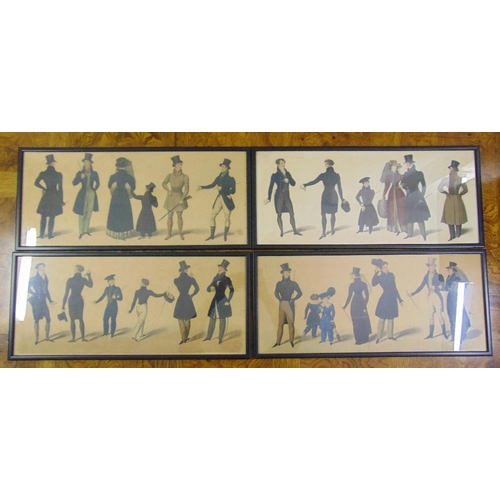 43 - Four framed and glazed polychromatic etchings of Victorian figures, 25 x 59cm...