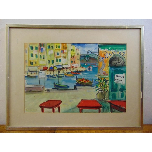 47 - Pito (1924-2000) framed and glazed watercolour of Portofino, signed and dated 1979 bottom right, 37 ...