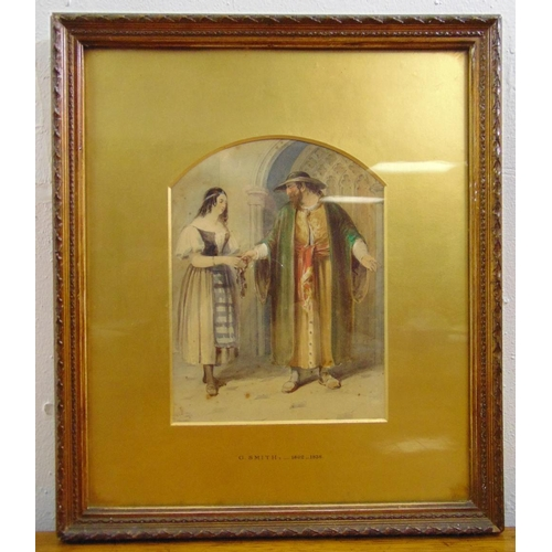 50 - G. Smith framed and glazed watercolour scene from the Merchant of Venice of Shylock handing keys to ...