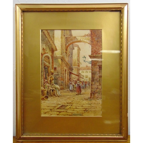 51 - E. Romano framed and glazed watercolour of a continental street scene, signed bottom right, 34 x 24c...