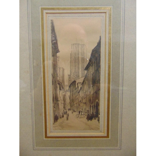 53 - David Muirhead Bone (1876-1953) framed and glazed pen and ink drawing of a street scene, signed bott...