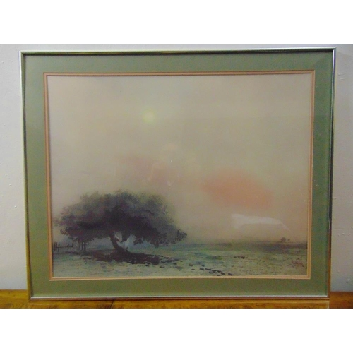 60 - A framed and glazed watercolour titled Le Grande Arbre, label to verso, indistinctly signed bottom r...