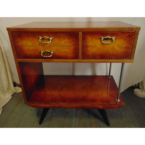 9 - An Italian rectangular sideboard, three drawers with gilded metal scroll handles all on four angled ...