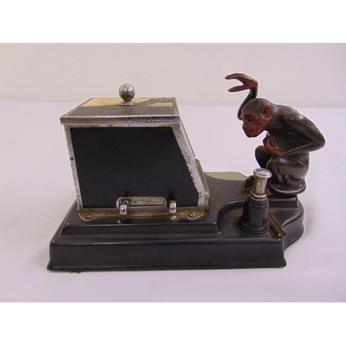 289 - A Ronson monkey Picacig combined table lighter and cigarette box, chrome plated, enamelled brass and...