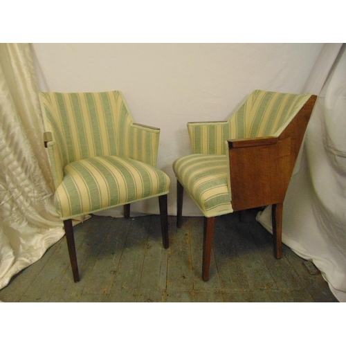 33 - A pair of Art Deco upholstered occasional chairs...