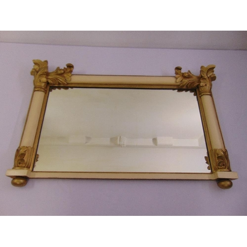 43 - A 20th century rectangular painted wood decorative wall mirror...