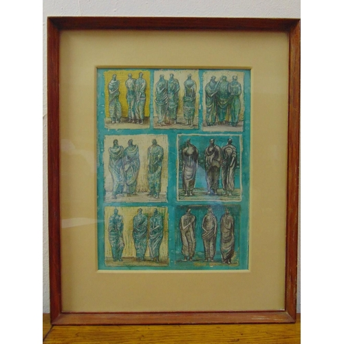 78 - Henry Moore OM RA (1898-1986) framed and glazed signed collotype depicting seven panels of standing ...