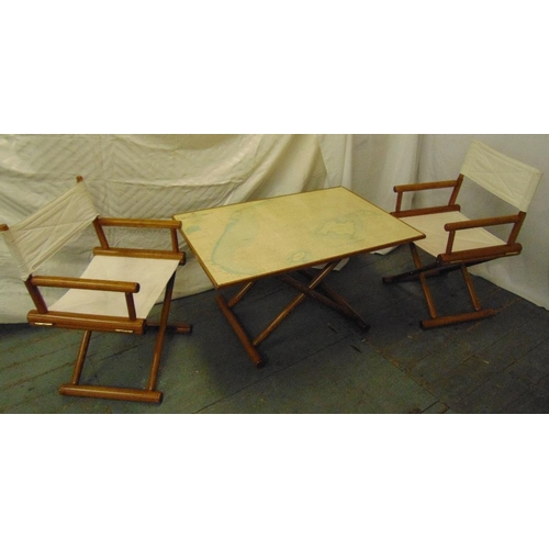 20 - A rectangular 1970s map table with matching canvas directors chairs, A/F...