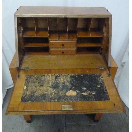 3 - A rectangular Art Deco satinwood bureau with coromandel borders, three drawers with Bakelite handles...