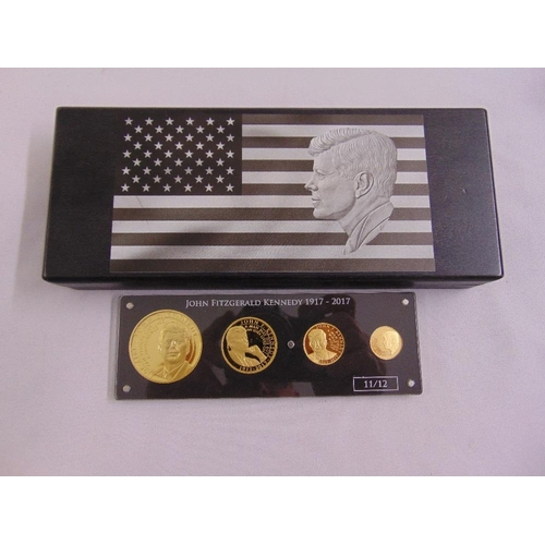 326 - John Fitzgerald Kennedy limited edition four gold proof coins in fitted case, 11/12, approx total go...
