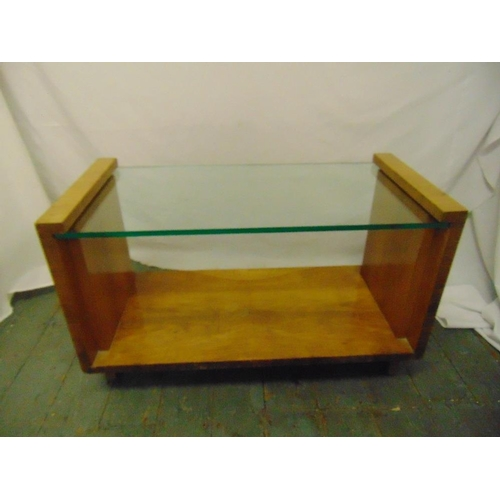 34 - An Art Deco rectangular glass and satinwood coffee table...