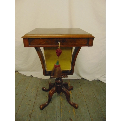 36 - A Victorian rectangular sewing table with single drawer on four scroll legs...