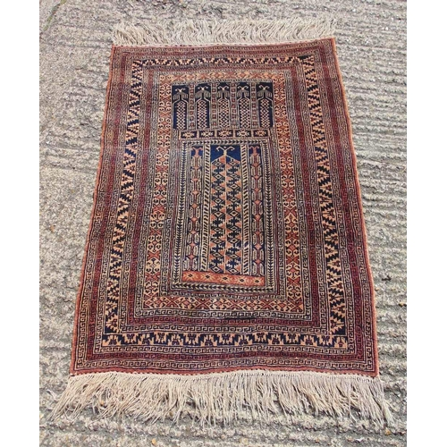 60 - Persian style wool brown and black ground carpet with repeating geometric design and border, 129 x 9...