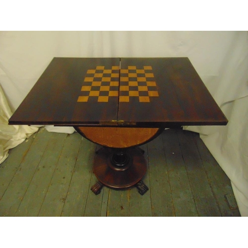 1 - A Victorian rectangular mahogany games and work table, the hinged cover revealing inlaid chess board...