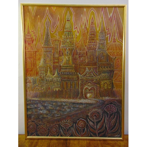 101 - Jack Ray framed mixed media on board of stylised Russian domes, signed bottom right, 122 x 91cm...
